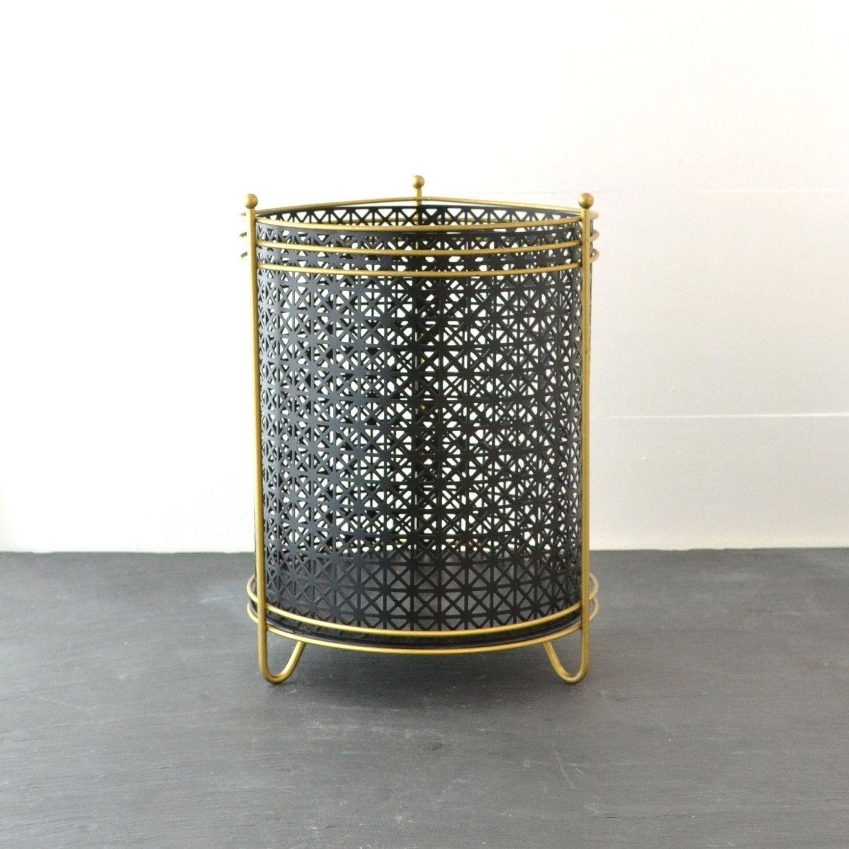 Mid Century Trash Can   Metal Waste Basket   Vintage Trash Can   Black Gold    Office
