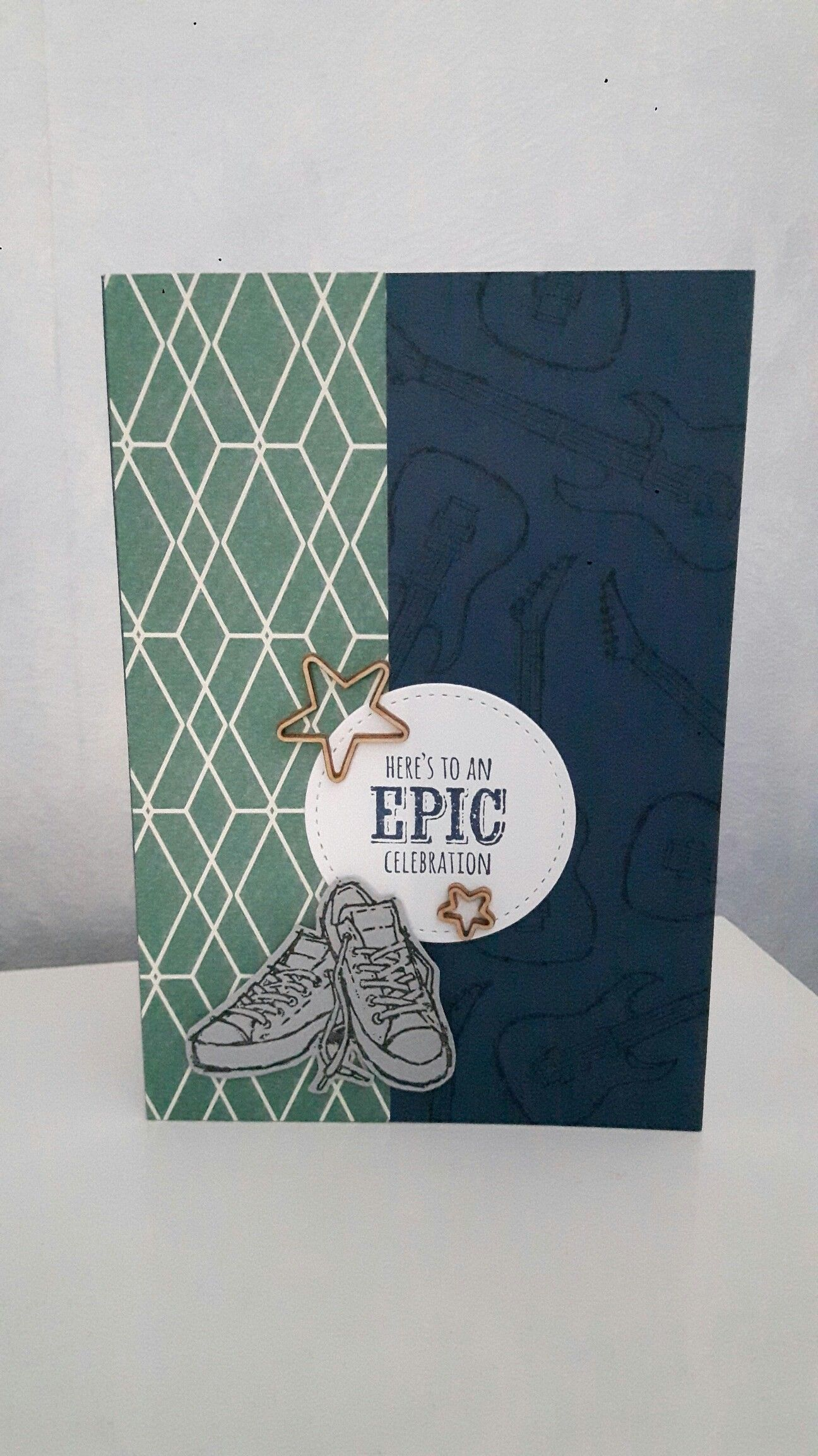 Stampin up birthday card epic celebrations stamp set truely