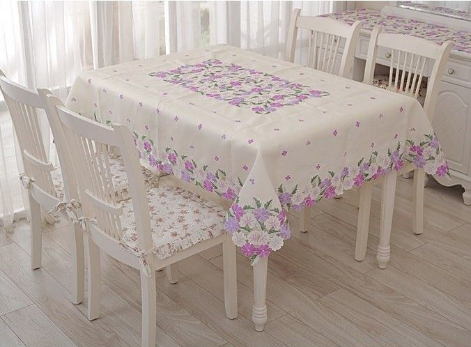Country Home Table Cloths | Embroidery Table Linen,country Living Lavender  Tablecloths For Home .