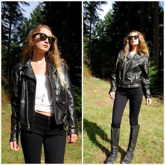 80s Black Leather Jacket Large Vintage Lesco Leather Motorcycle Jacket Punk Rocker Leather Biker Jacket Hipster 90s Grunge Moto Zippered Leather Jacket Black Leather Jacket Leather Jackets Women