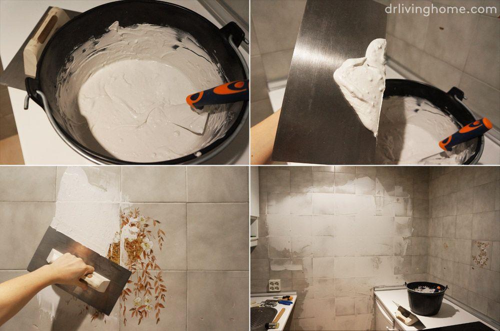 Renovar azulejos cocina sin obra pintar azulejos y - Pegatinas para tapar agujeros en azulejos ...