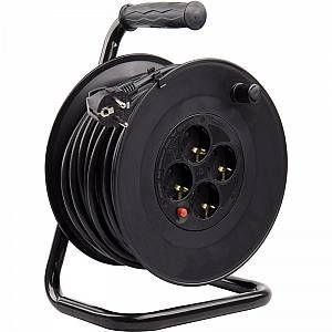 LEDKIA Enrouleur Extensible 50m 3x1.5mm Noir
