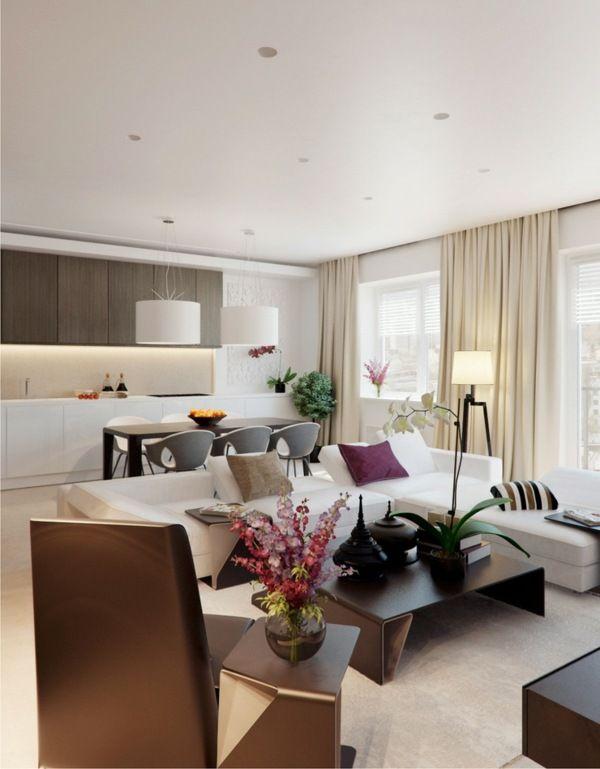 Salon moderne design en 47 idées par Alexandra Fedorova Living - Cuisine Ouverte Sur Salle A Manger Et Salon