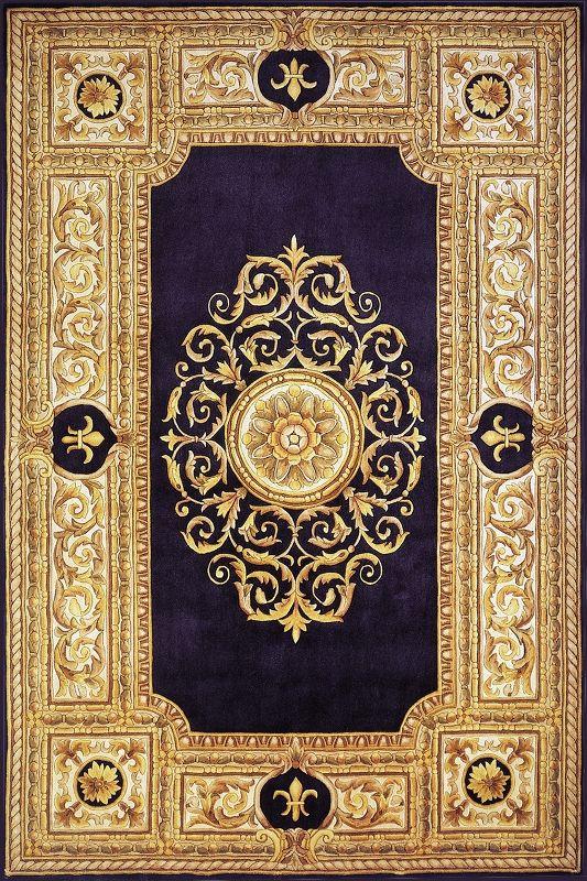 Hand Tufted Maison Blue Wool Area Rug Perserteppich Einband Und