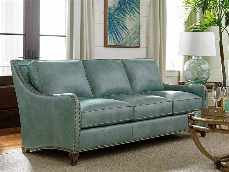 Tommy Bahama Twin Palms Koko Loose Back Sofa In 2021 Blue Leather Sofa Sofa Furniture Blue Leather Couch