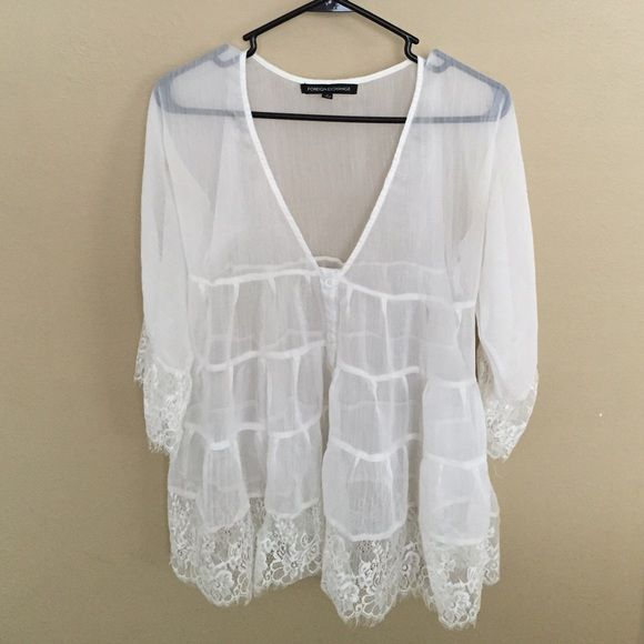 8bce4cf6e92 Sheer button flowy top FOREIGN EXCHANGE. Oversized sheer white button down  top. sleeves with lace at end. Bottom of top is finished with lace at end.