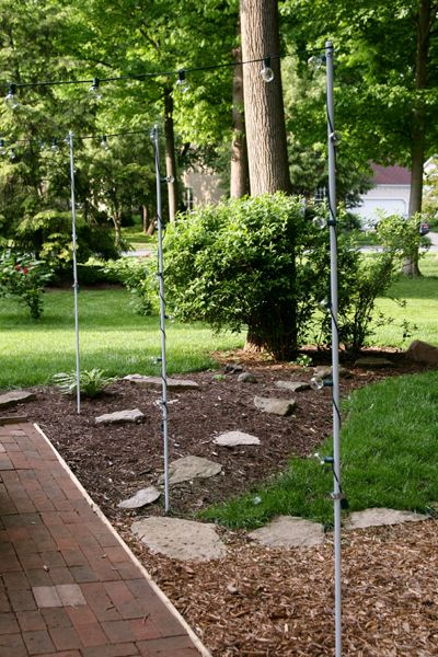 Easy Diy Poles To Hang Patio Lights Made From Conduit Placed Over Rebar Http Breadandcheeseplease 2017 05 Light Fun