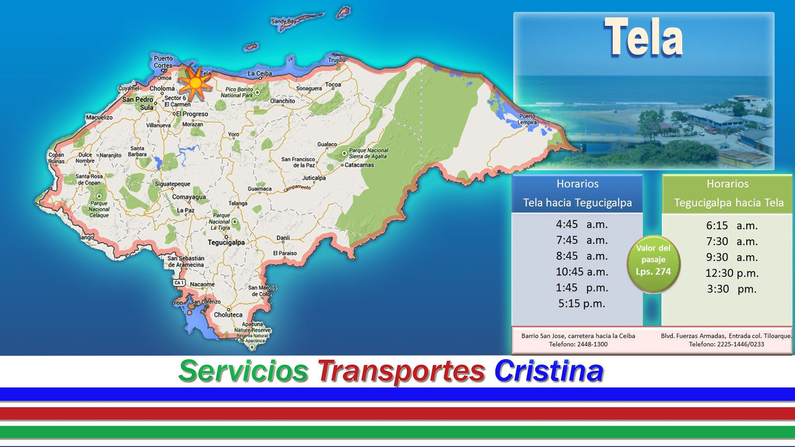 Transportes Cristina Tela San Pedro Sula Guatemala Honduras