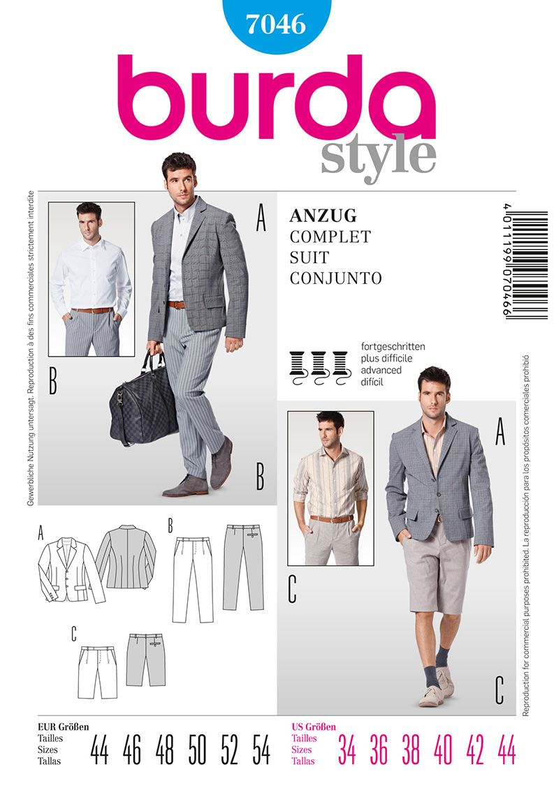 Burda 7046 Men\'s Suit | Sewing - Here I Come | Pinterest | Sewing ...