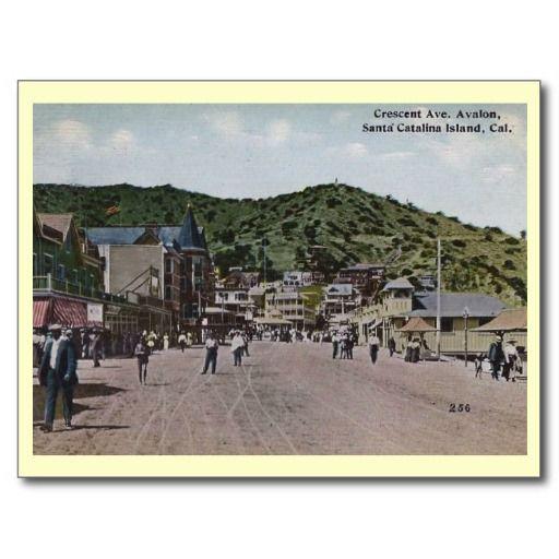 Crescent Ave, Avalon, Catalina Island Vintage Post Card ~ On sale through Zazzle!