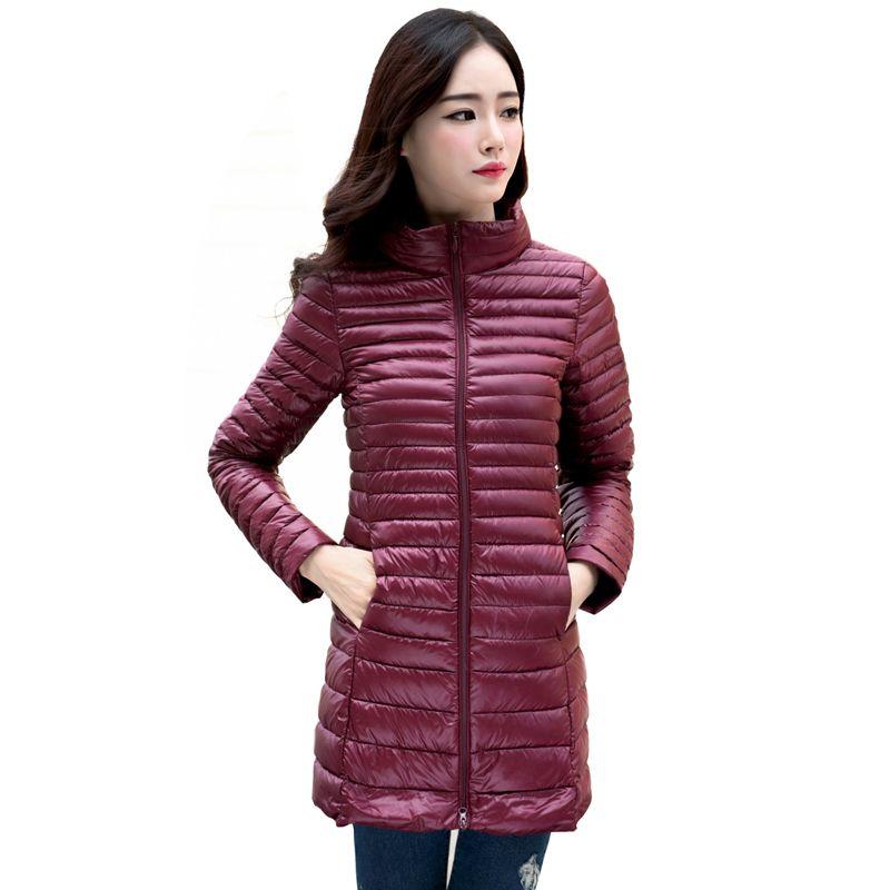 2016 새로운 여성 겨울 코트 초경량 슬림 90% 흰색 오리 다운 재킷 플러스 사이즈 여성 긴 다운 코트 휴대용 따뜻한 겉옷
