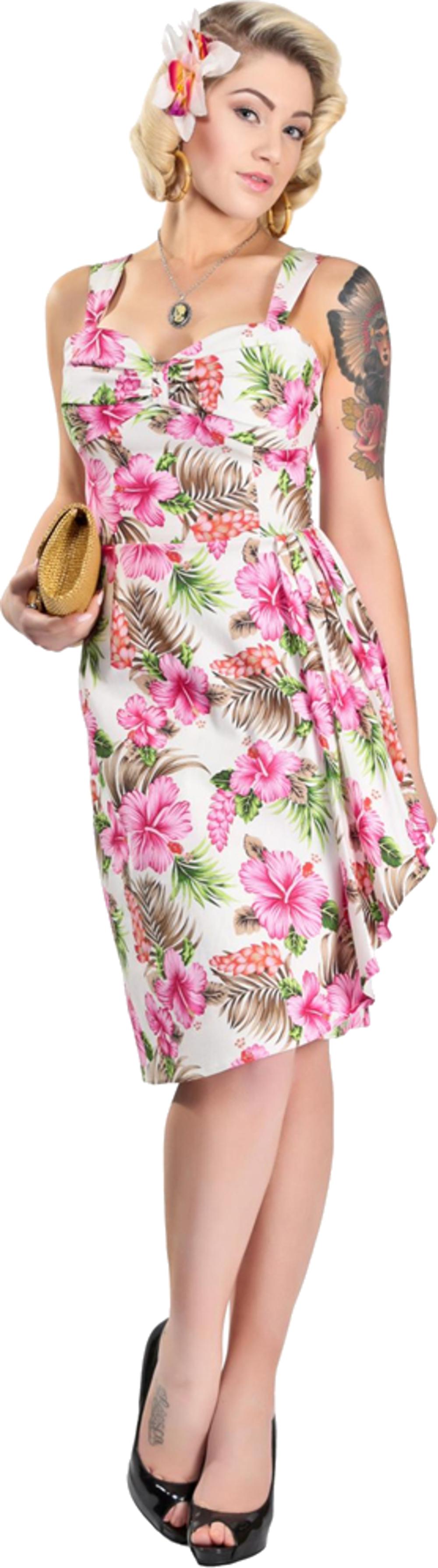 Collectif TALLULAH Hibiscus Fifties Tiki Sarong Dress ...
