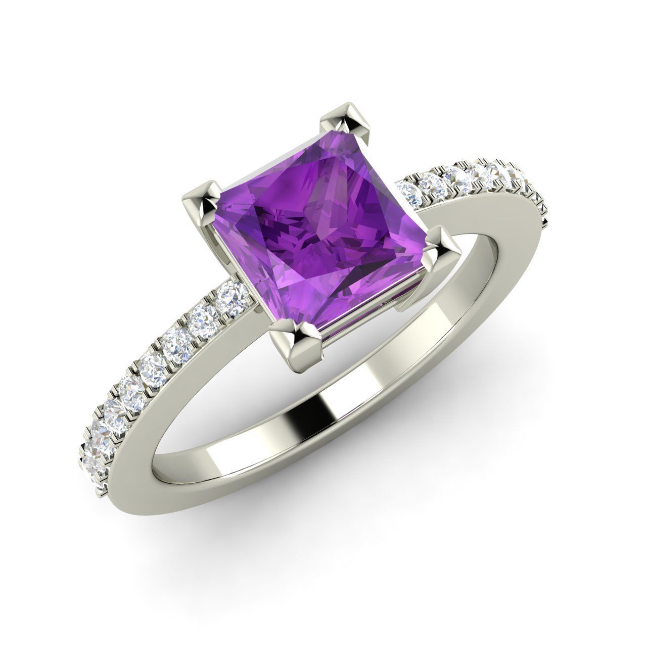 1.25 Ct Natural Amethyst & SI Diamond Engagement Ring in 14K White Gold- Sizable | eBay