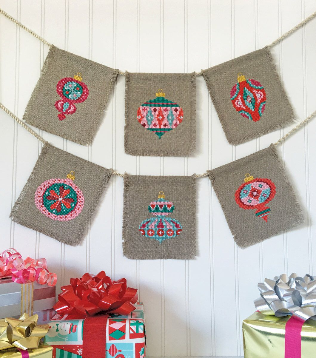 Christmas Baubles - set of seven charts - modern cross stitch pattern PDF - Instant download by SatsumaStreet on Etsy https://www.etsy.com/ie/listing/287203433/christmas-baubles-set-of-seven-charts