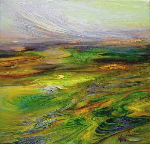 """Marion Bellebna, """"Symphonie en vert"""" (143) Mit einem Klick auf 'Als Kunstkarte versenden' versenden Sie kostenlos dieses Werk Ihren Freunden und Bekannten."""