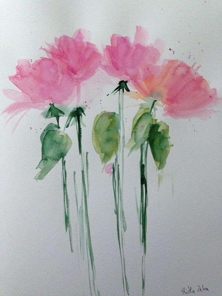 Aquarell Blumen Flowers Watercolor Art