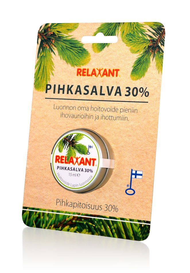 Detria Relaxant pihkasalva 30% on luonnon oma hoitovoide pieniin ihovaurioihin ja ihottumiin. I Relaxant resin salve 30% is nature's own treatment cream for small skin bruises and rashes. #pihka #pineresin #natural #relaxant