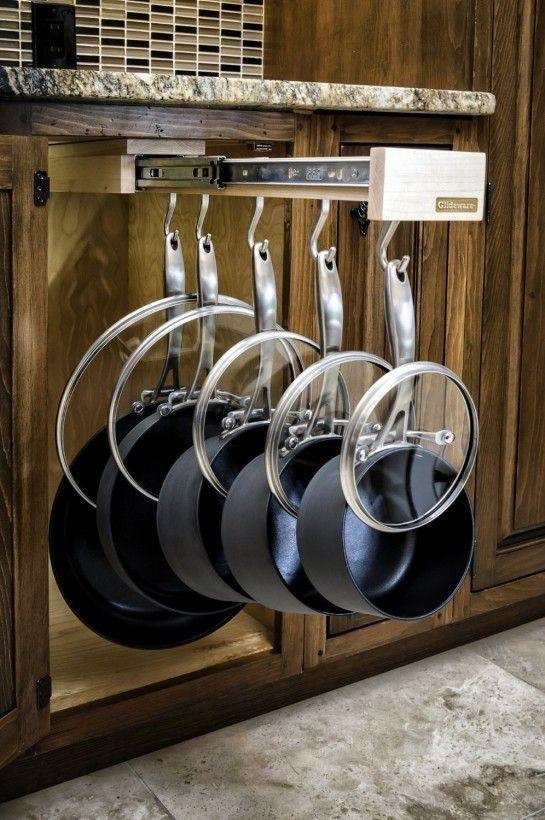 Attrayant Under Cabinet Storage Ideas | Sliding Cabinet Pot Rack From Glideware Kitchen  Cabinet Organizers .