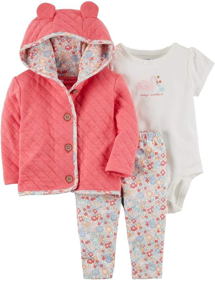 13c480f59 Carter's Baby Girl Quilted Jacket, Daddy's Sweetheart Swan Bodysuit & Floral  Pants Set