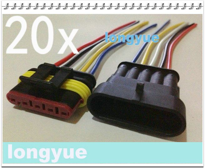 longyue 20sets New 5 Pin Waterproof Electrical Wire Connector Plug Motorcycle Car Marine 10cm wire