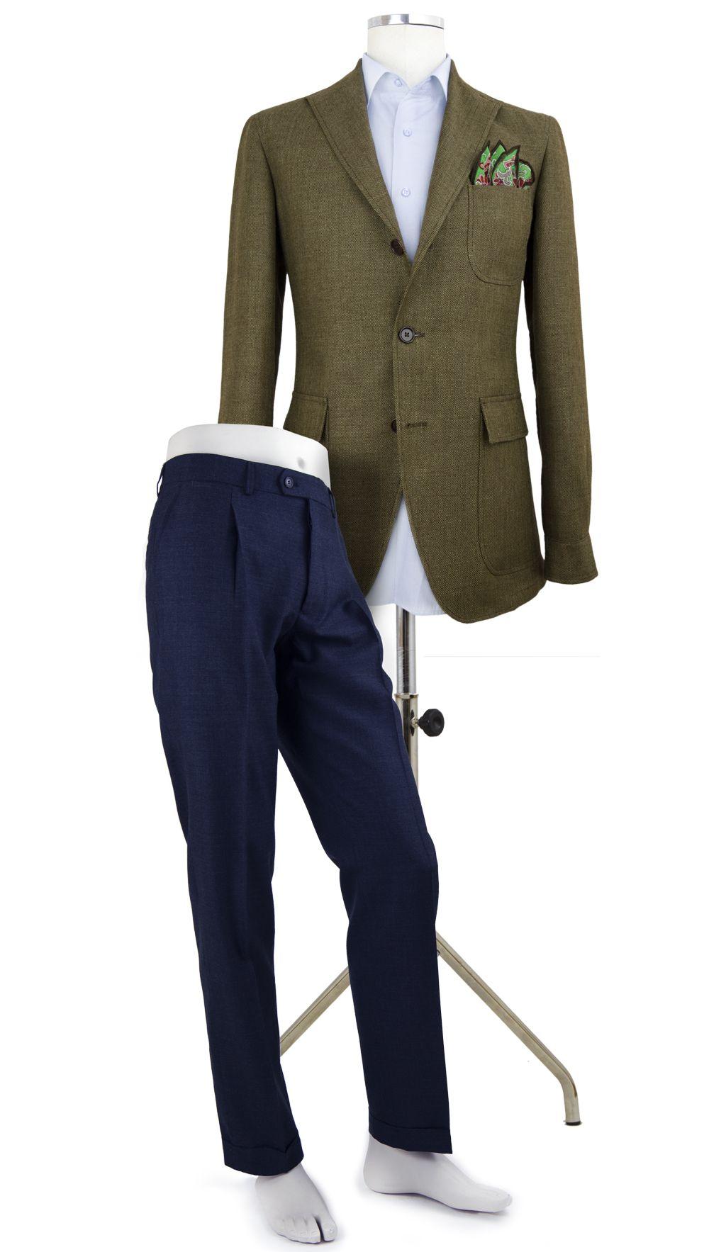 Tebas Caballero TB01 8140      52% Lino, 48% Lana     Color Verde Bosque     Tipo de tejido:Sport  Pantalón P1PR FRESCO BR AZUL      25% Terylene y 75% Lana     Color Azul     Tipo de tejido:Vestir