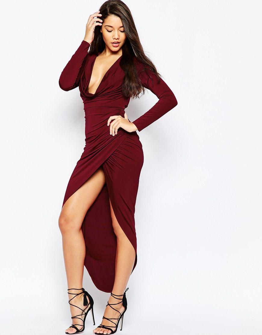 Asos Long Sleeve Cowl Front Maxi Dress Asos Red Long Sleeve Dress White Long Sleeve Dress Maxi Dress Prom [ 1110 x 870 Pixel ]
