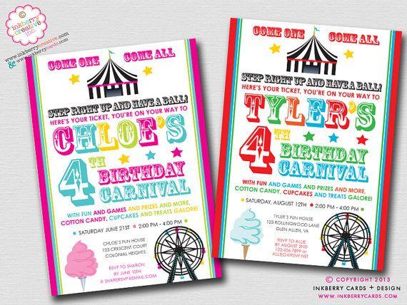 fun & games - kids carnival birthday party invitation (digital, Party invitations