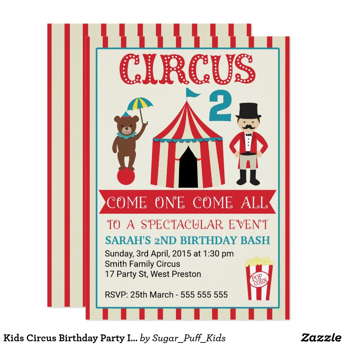 Kids Circus Birthday Party Invitation  Carnival Theme