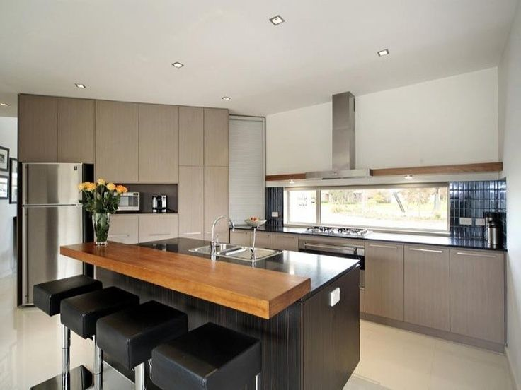 Modern kitchen island with breakfast bar google search breakfast bar wood on granite - Modern kitchen design photos ...