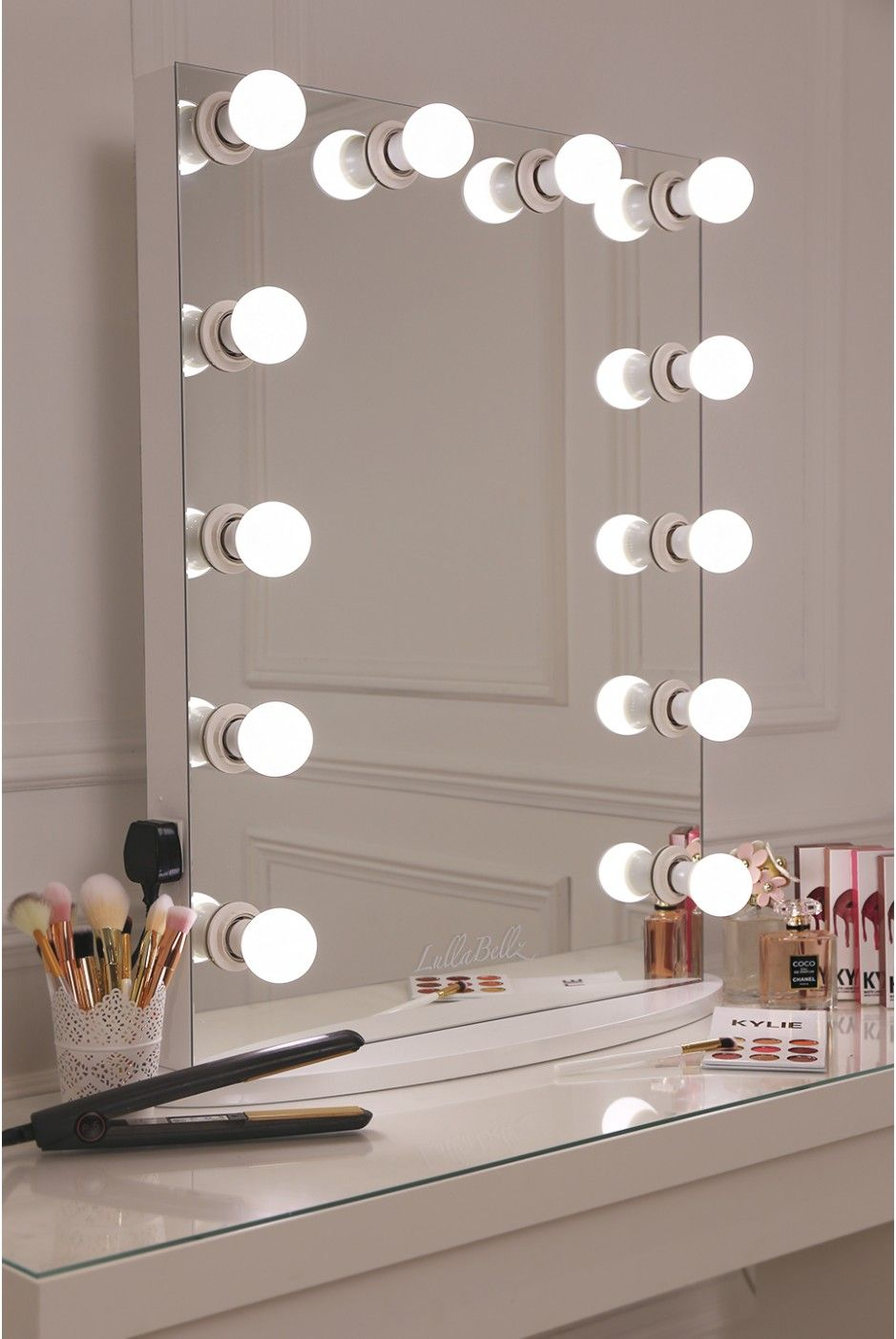 vanity mirror lighting. This Is What Make Up Dreams Are Made Of Girls! Our XL Pro Hollywsood Mirror Which Features A Sleek White Design With 12 LED Frosted Light Bulbs- Vanity Lighting