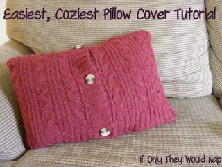 Sweater Pillows from If Only They Would Nap | Featured in Upcycled Flea Market Finds from Gooseberry Patch