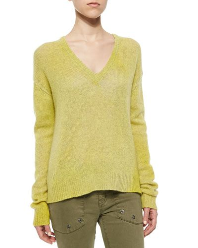 T9JD0 Zadig & Voltaire Long-Sleeve Cashmere Sweater, Jaune