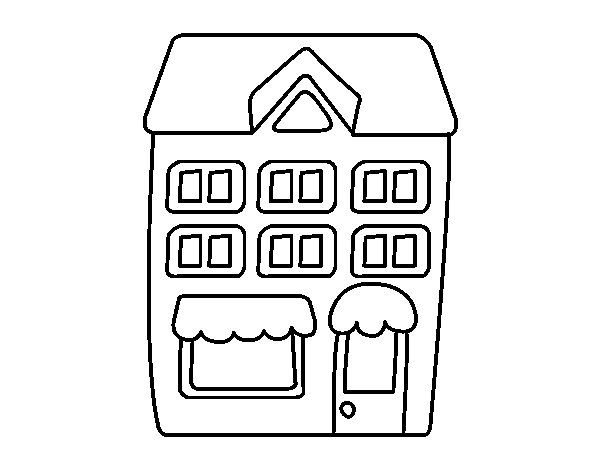 Dibujo de Casa con pisos para Colorear  Rutines  Pinterest