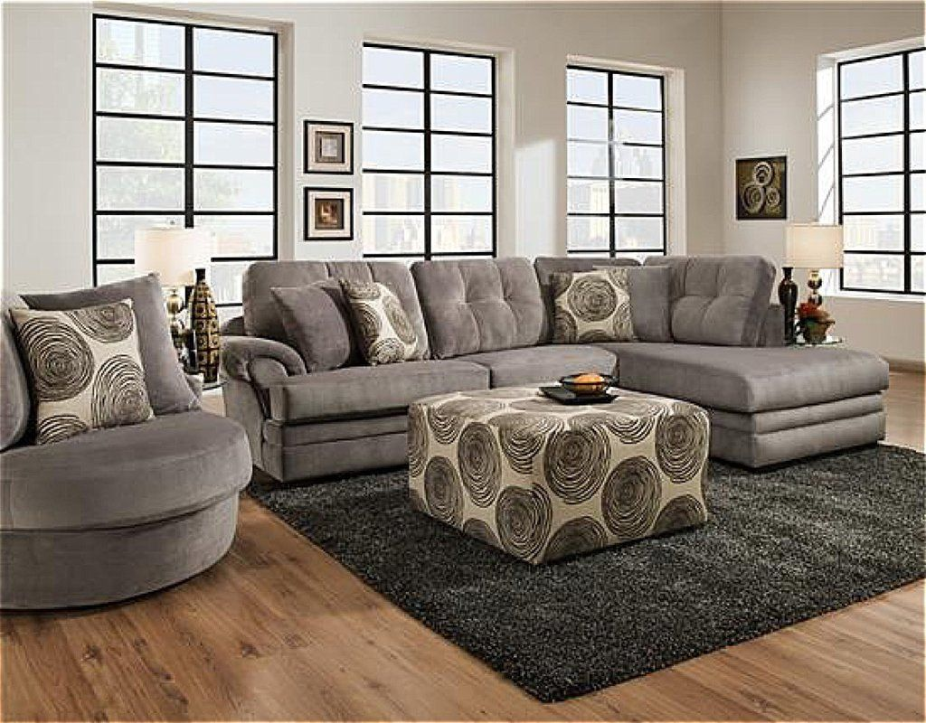 Corinthian Knockout Grey Chaise Sectional My Furniture Place