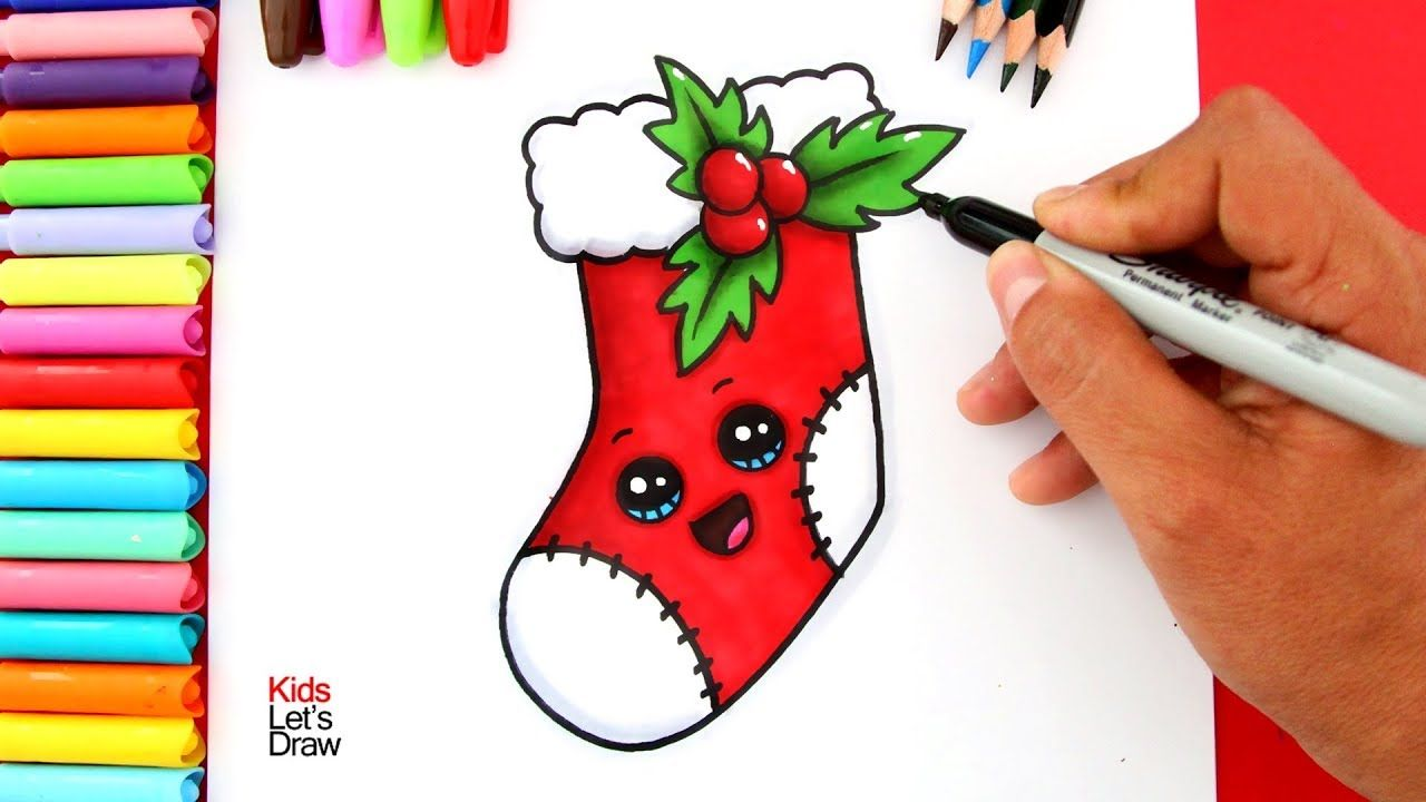 Aprende A Dibujar Y Pintar Un Calcetin De Navidad Kawaii Bota Navidena Youtube Dibujo De Chica Guapa Calcetines Navidad Dibujos De Navidad Faciles