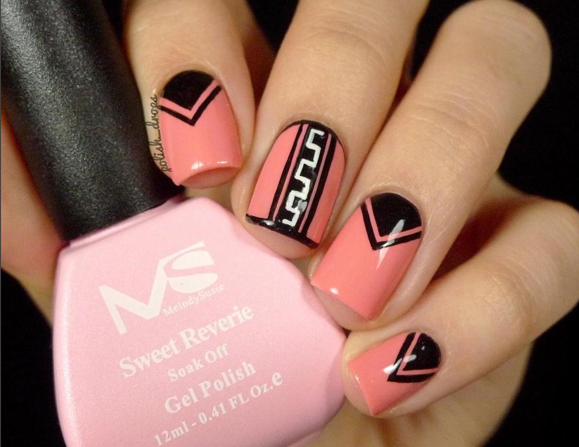 Geometric Neon Peach Tribal Simple Nail Art Gel   Nail Art ...