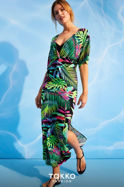 dein trendteil für den sommer 2020 | langes kleid mit palmen
