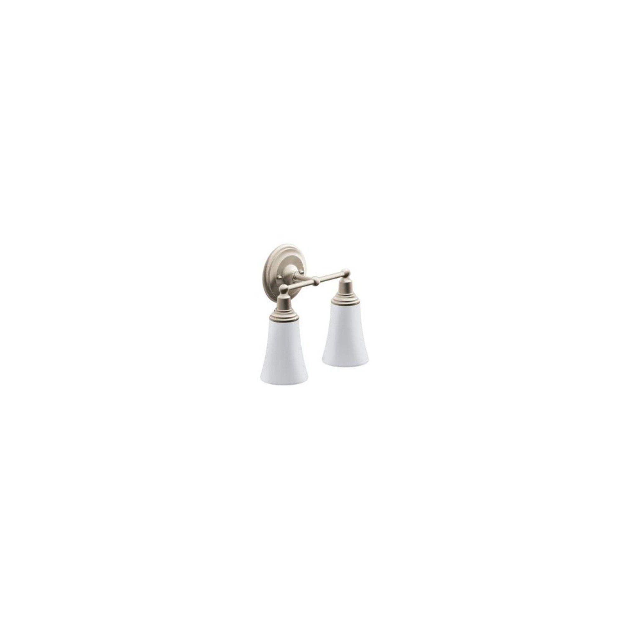 "Photo of Moen YB8262 11.96 ""Wide 2 Light Bathroom Faucet – Brushed Nickel"