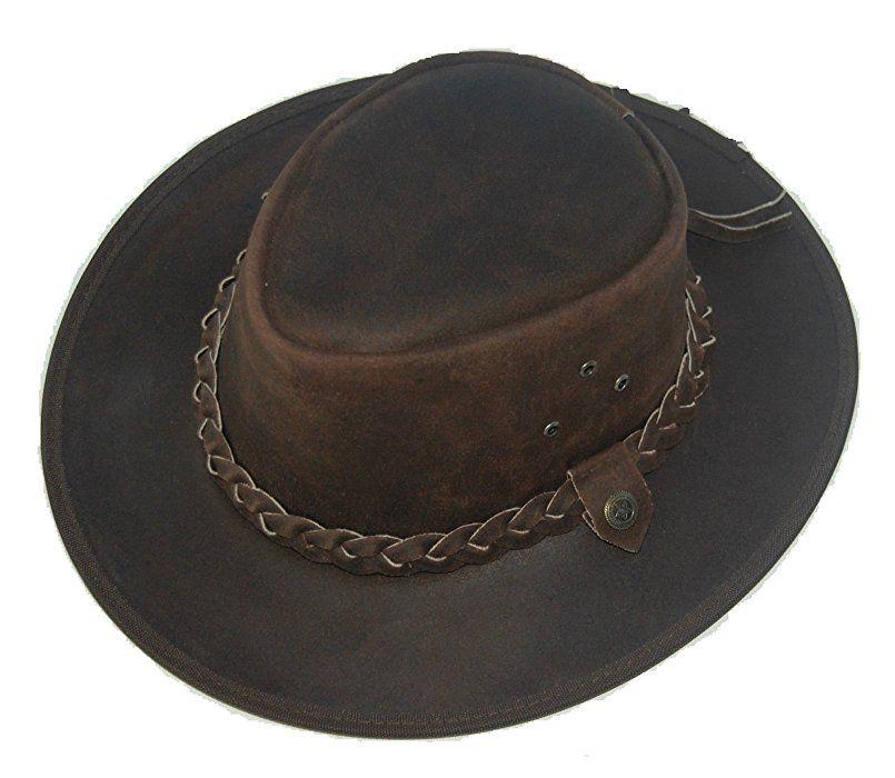 ce5c6883e6031 LEATHER COWBOY WESTERN AUSSIE STYLE OUTBACK BUSH HAT (S (55-56 CM ...