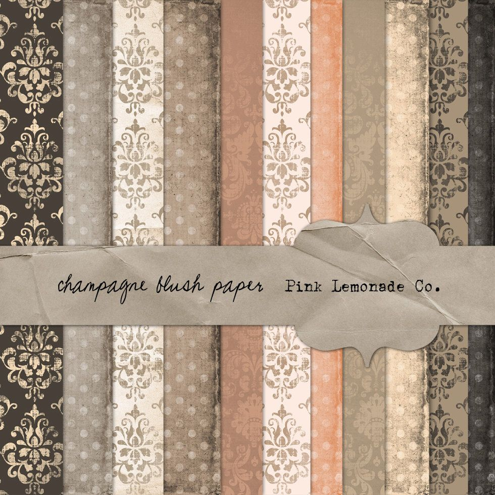 Champagne Blush Paper Pack Eleven Papers Digital Textured Scrap Commercial Use OK. $4.50, via Etsy.