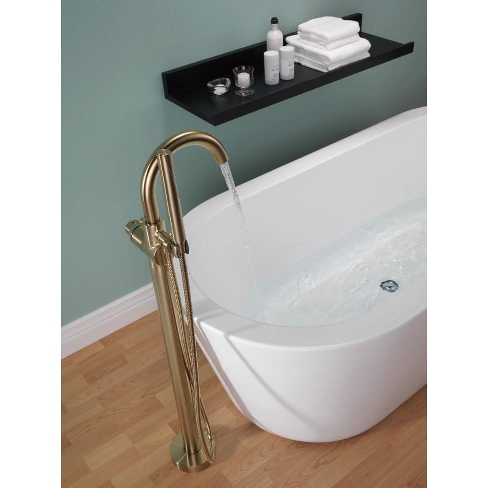 Delta Trinsic 1 Handle Floor Mount Roman Tub Faucet Trim Kit With
