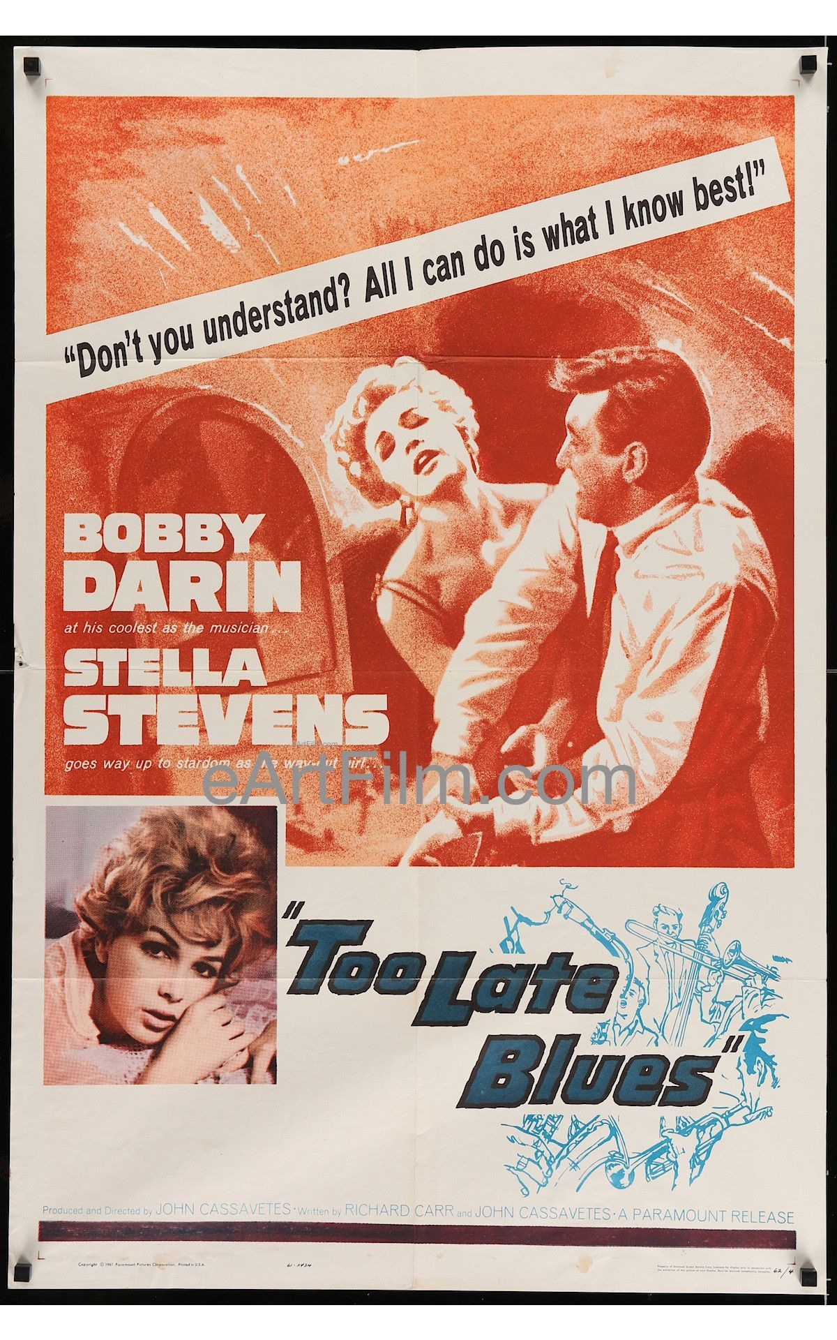 Too Late Blues 1962 27x41 One Sheet United States