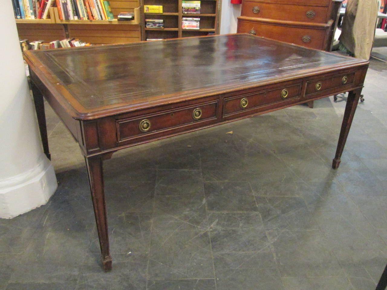 19th Century English Mahogany Leather Top Partners Desk 1stdibs Com Partners Desk Mahogany Leather Mahogany