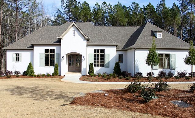 White brick with grey trim drooling home exteriors in - White house gray trim ...