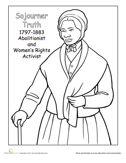 Soujernor Truth Coloring Page Black History Month Crafts Black History Month Activities Sojourner Truth
