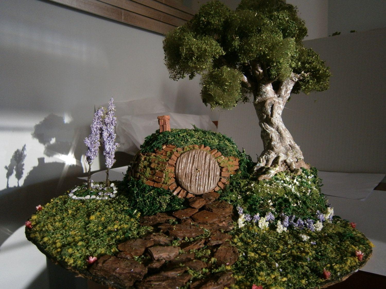 Miniature Tree Hobbit House Diorama Ooak By MundoMagico On Etsy