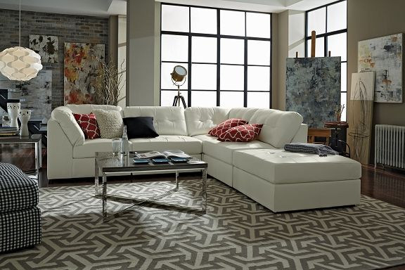American Signature Furniture   Aventura II Leather Collection 5 Pc.  Sectional $999.95