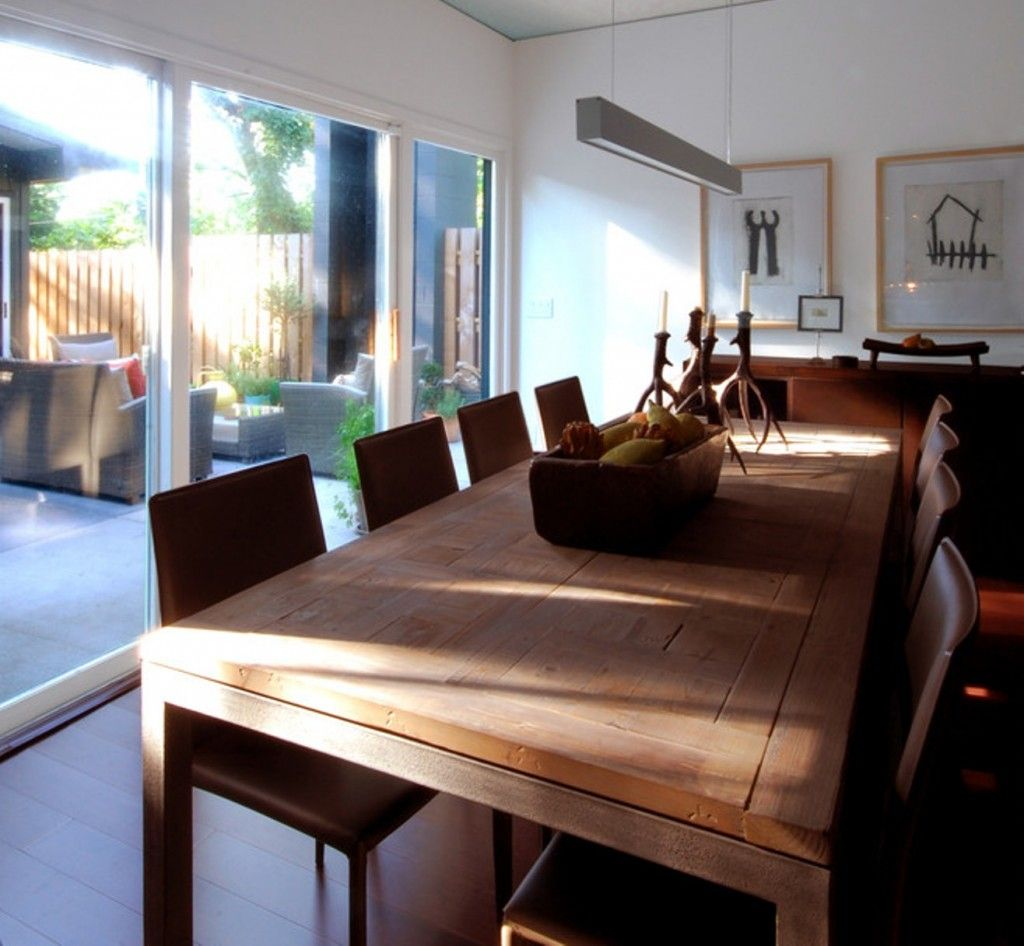 Contemporary Dining Area With Rustic Wood Dining Table Also Gray Leather Dining  Chairs Also Roost Bronze