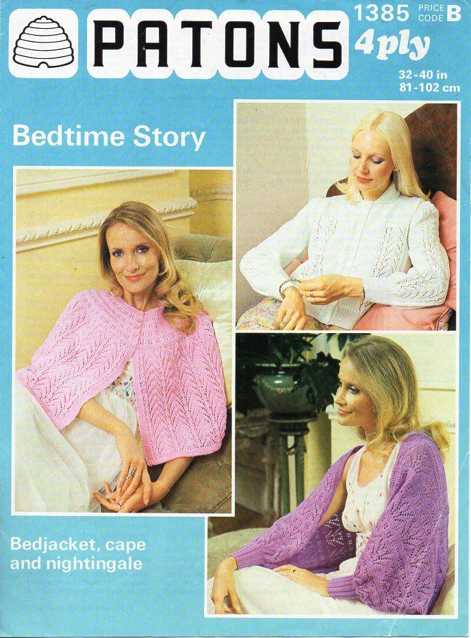 Slenderella Ladies Peter Pan Collar Bed Jacket Ribbon Tie Cardigan Crochet Trim