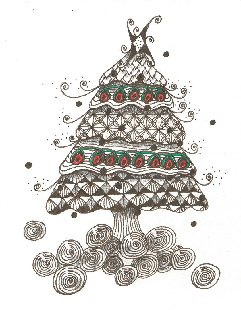Zentangle Christmas tree I drew for my Christmas cards two years ago ...